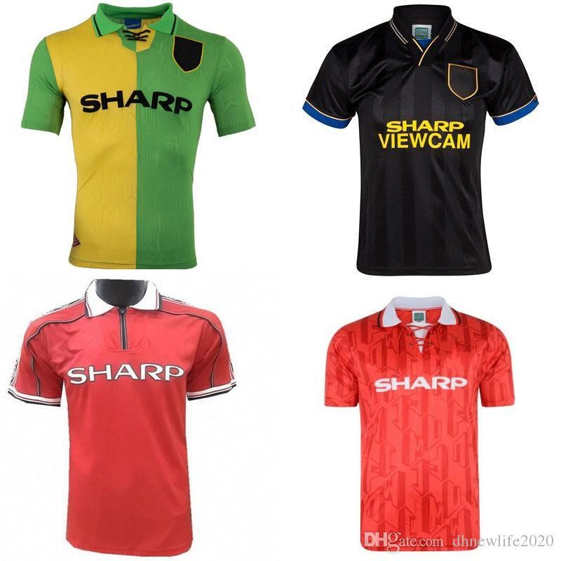 c3ea2d85e1e Compre Manchester United 92 94 98 99 Beckham Man Utd Camisa De Futebol 1992  1994 1998 Retro UTD Jersey Camisa De Futebol Clássico Giggs Casa Red Away  Verde ...