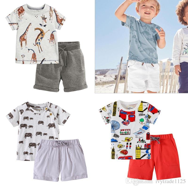 new products 848b0 1b96d Baby-Designer-Kleidung Kids Sets 100% Baumwolle Sommer Jungen Set Kurzarm  T-Shirt mit Mantel Denim kurze Kinder Kleidung Sets