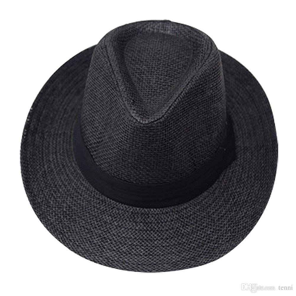 8f51a9c7cfe2a Compre Chapéu De Sol Preto Fedora Palha Chapéu Preto Para Os Amantes De  Tenni