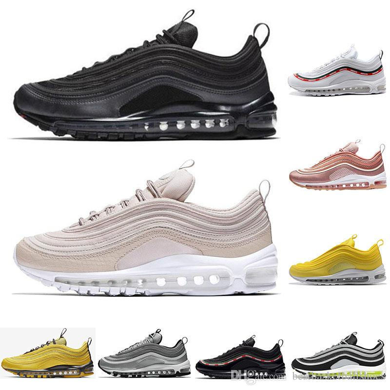 efa99f3bce399f 2019 97 Mens Running Shoes Triple White Black Silver Bullet Mustard ...