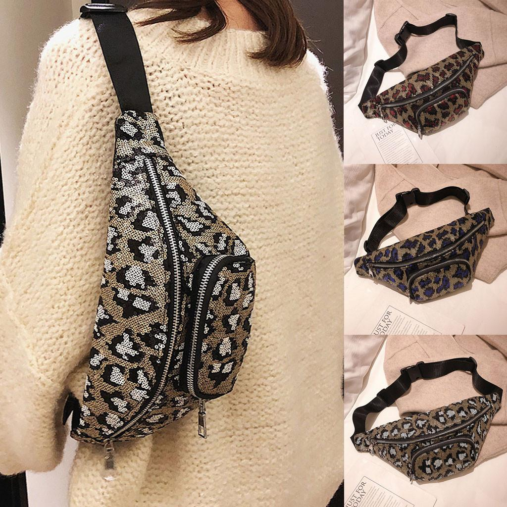 87ae3d4537d Women Fashion Leopard Shoulder Bag Neutral Zipper Sequin Messenger Bag  Sport Chest Ladies Versatile Waist Fanny Pack NEW Tote Handbags Relic Purses  From ...