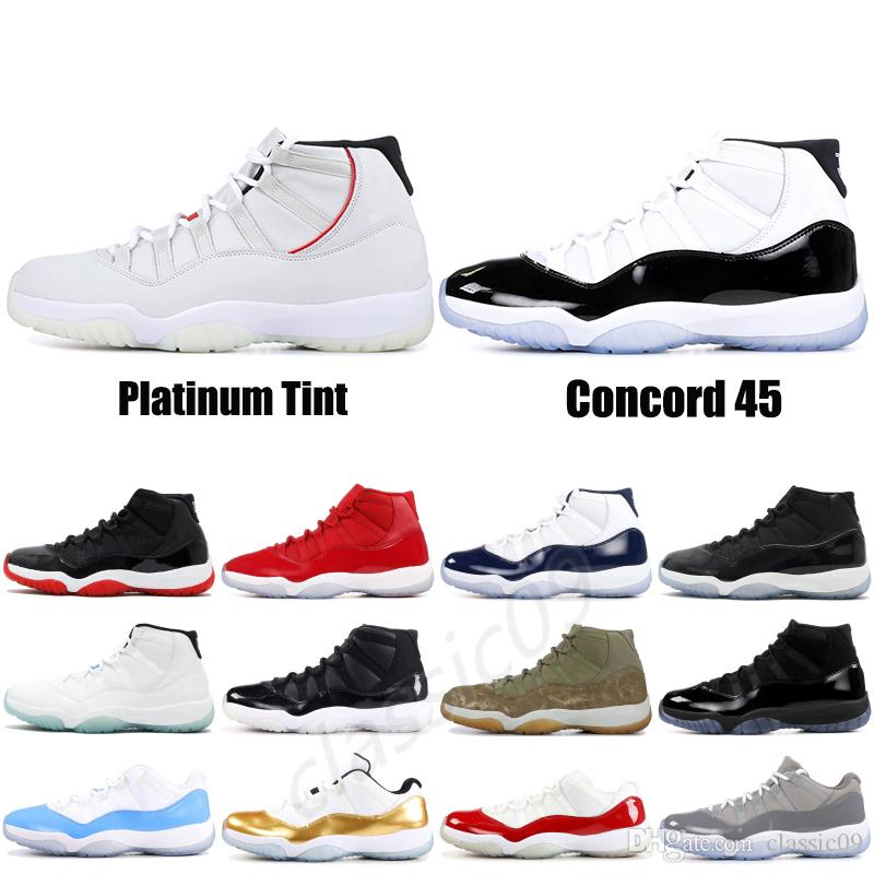 fe08fa2343d2 2019 Concord 11 XI Mens Basketball Shoes Platinum Tint High 11s Space Jam  Black White UNC Men Women Sneakers Designer Shoes US 5.5 13 From Classic09
