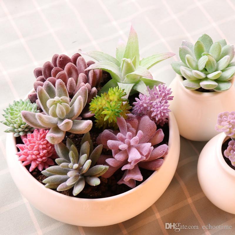 Künstliche Retro Sukkulenten Pflanze Mit Topf Garten Gefälschte Ornament Dekor