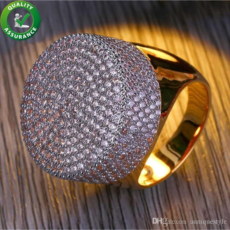 Mens Gold Rings Hip Hop Jewelry Round Fully Iced Out CZ Lab Simulated Diamond  Bling Band Style Pinky Finger Ring For Men Auniquestyle UK 2019 From ... edd9436a627c