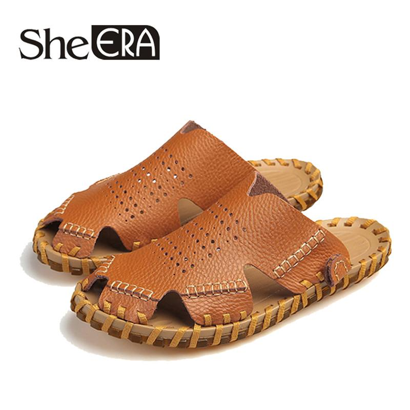 bd9a1595a011 2019 Genuine Leather Men Sandals Black Brown Sewing Beach Shoes Men Cool  Summer Shoes Breathable Mens Leather Sandals Size 38 44 Shoes For Sale  Womens ...