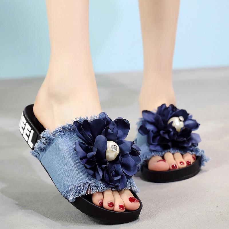 Big pearl flowers open toe sandals women denim slippers shoes cozy slip on floral fringe flip flops 36-41 size sapato feminino