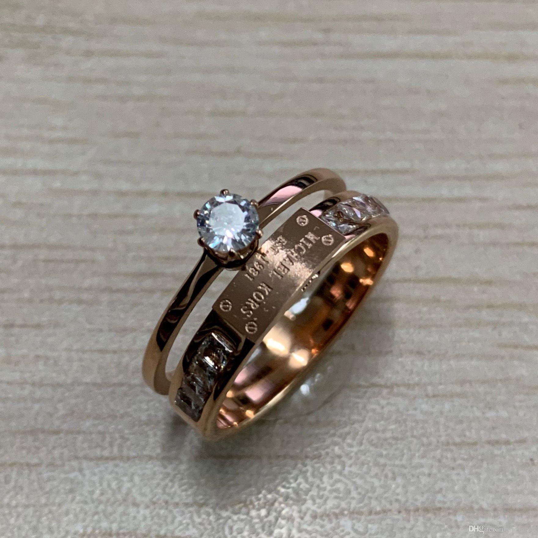 316L Titanium steel lovers wedding diamond Rings 18k rose pink gold filled engagement anel anillo Size 6,7,8,9 for Women