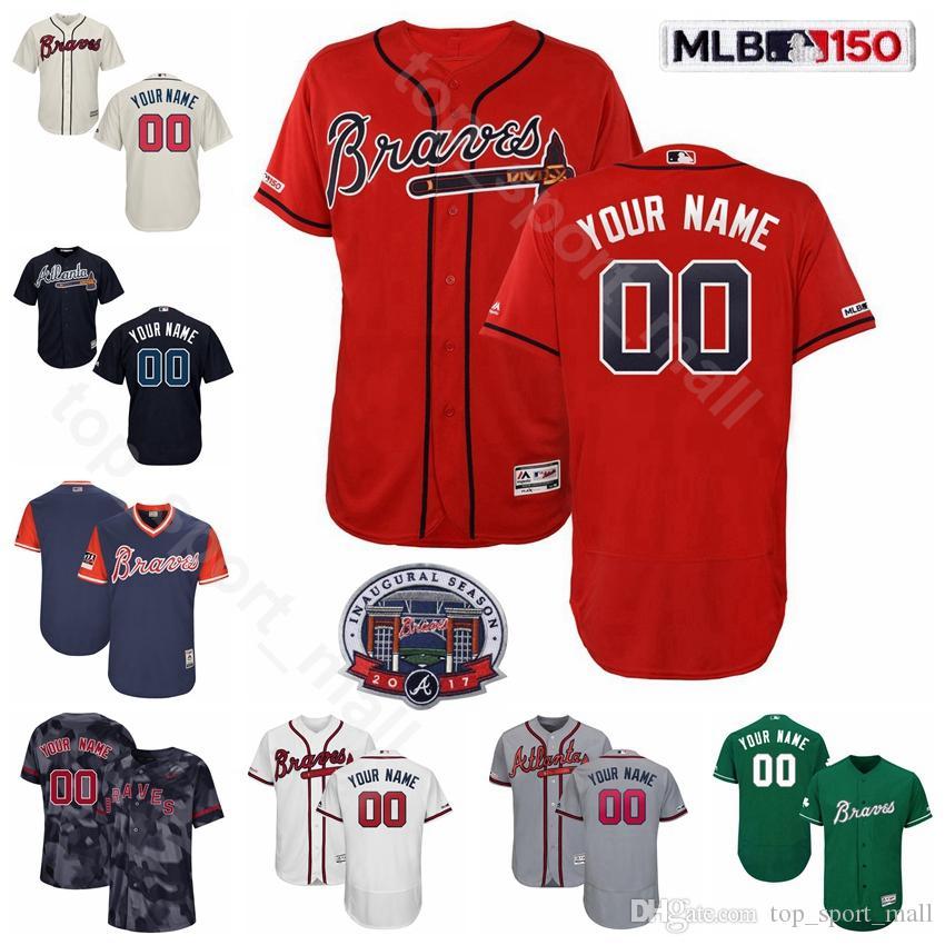 huge discount fb313 69cd4 Atlanta Baseball Braves 2017 Inaugural 10 Chipper Jones Jersey 44 Hank  Aaron 21 Warren Sphan 41 Eddie Matthews 35 Phil Niekro Bobby Cox