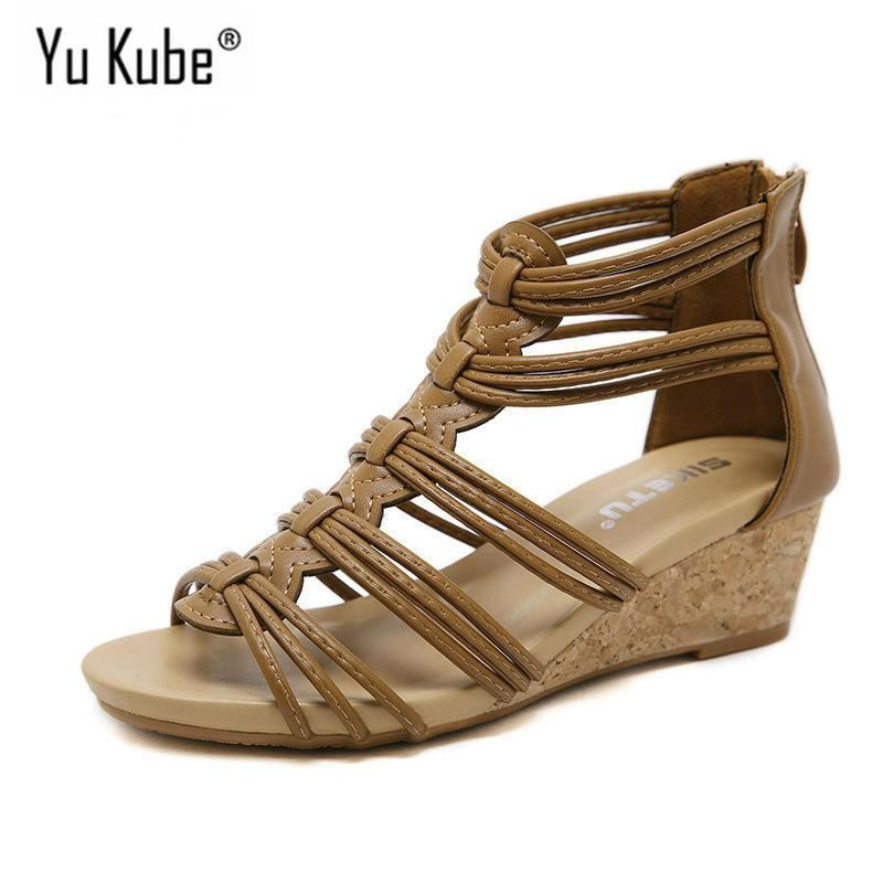115b84a28103 Yu Kube Summer Shoes Woman Sandals Cage Strap Sandalias Mujer 2019 Wedges  Shoes For Women Gladiator Sandals Plus Size Sandals High Heels From  Clownie