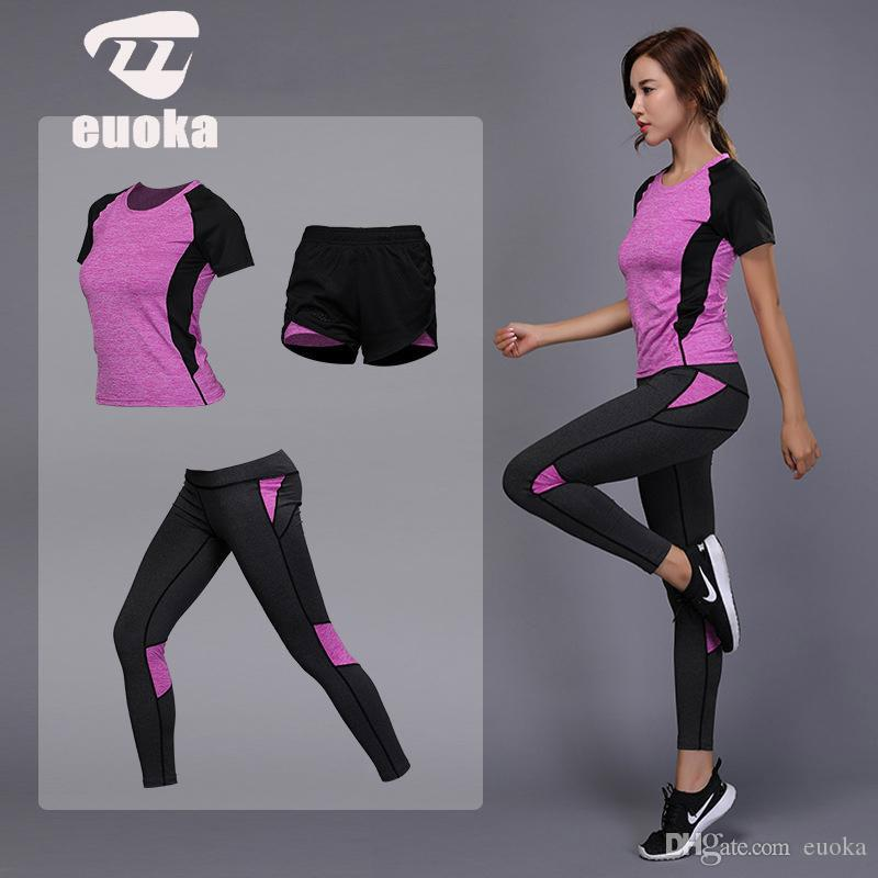 2019 Women's sportswear Yoga Set Fitness Gym Clothes Running Tennis Shirt+Pants Yoga Leggings Jogging Workout Sport Suit