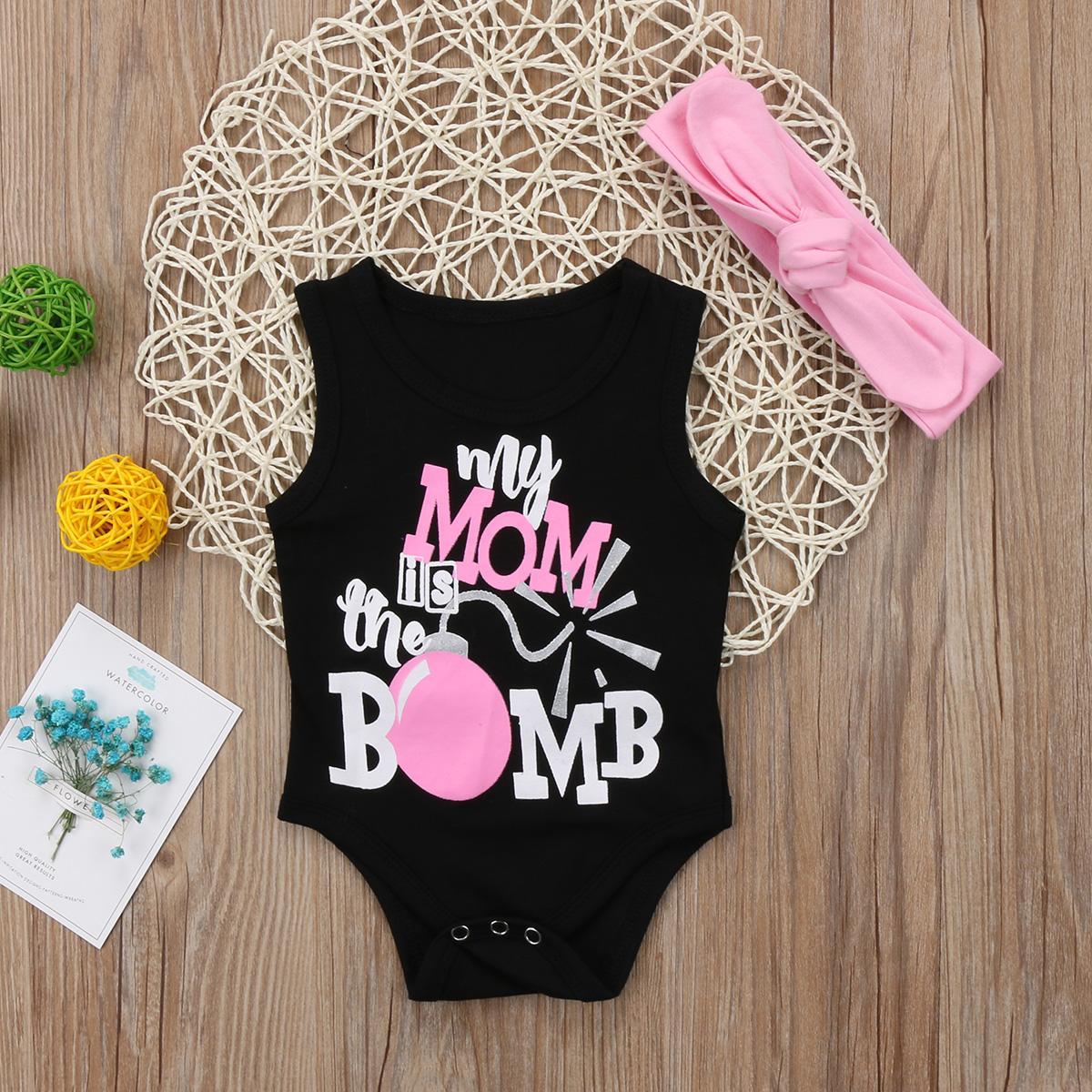 Yürüyor Bebek Bebek Kız Erkek Çocuk Bodysuit Kolsuz Kıyafetler Giyim Seti Kafa Seti Günlük Moda Letter Giyim