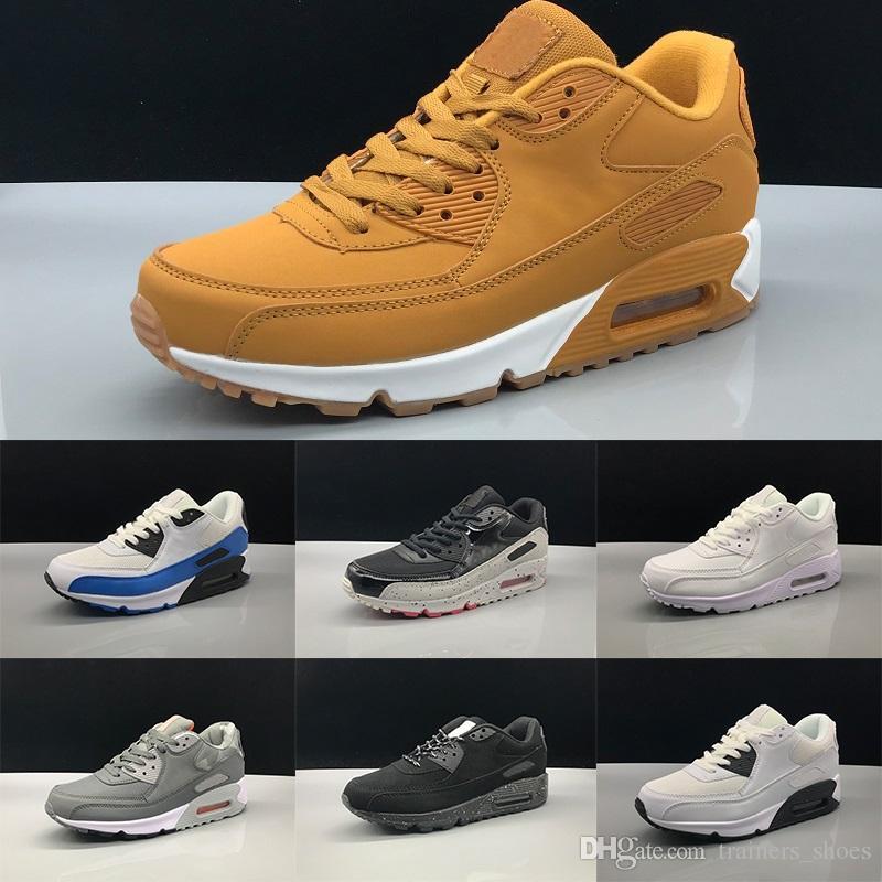 new arrivals 0f528 abb3c Acheter Nike Air Max 90 Hommes Femmes Chaussures De Course Triple Noir Blanc  Noyau De Blé Oreo Sport Bleu Gris Rouge Hommes Pas Cher Sport Designer  Baskets ...