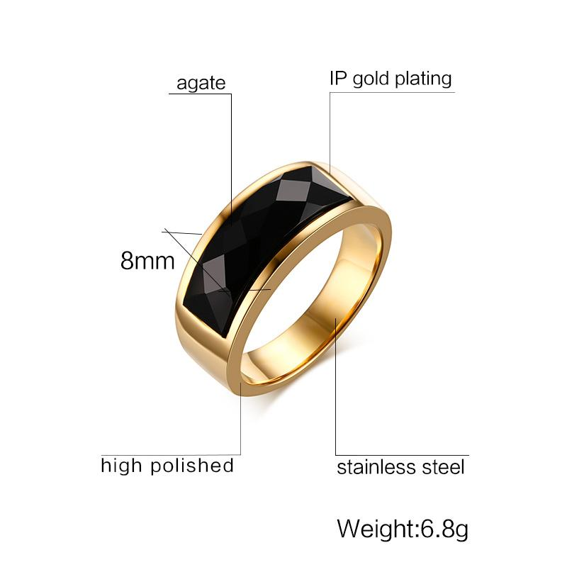 9a73e5258b931 Fashion Jewelry Meaeguet Cool Men Rings Stainless Steel Black Rhombic Cut  Stone Rings Wedding Band Bague Homme 8MM Wide