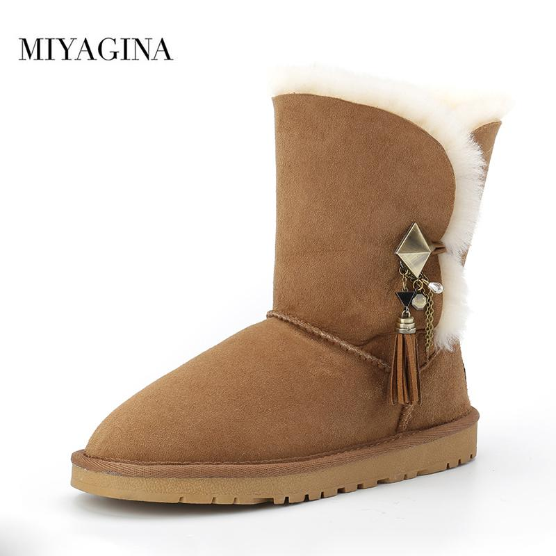 f924df25e1a MIYAGINA High Quality Australia Classic Lady Shoes Winter Waterproof Genuine  Sheepskin Leather Real Fur Women Snow Boots Winter Boots Over The Knee Boots  ...