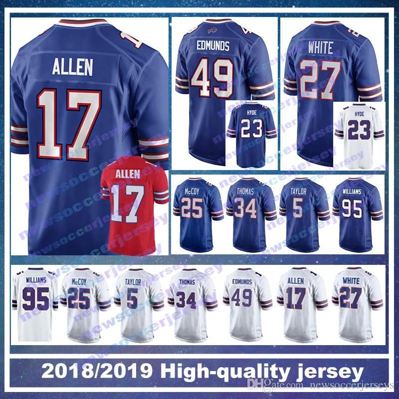 17 Josh Allen Buffalo Bills Jersey 49 Tremaine Edmunds 12 Jim Kelly