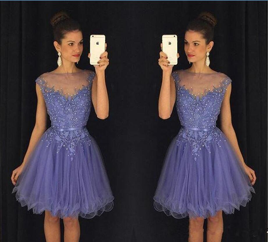 651e16820e44 Lavender 2019 Short Graduation Dresses Lace Beading Cap Sleeves Cheap  Homecoming Dress 2016 Tutu Skirt Party Gown Long Formal Dresses Lulus  Dresses From ...
