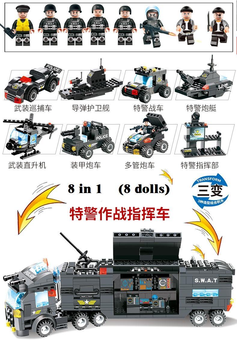 647 STÜCKE 762 STÜCKE Kompatibles Modul LegoING City Mobile Police Serie SWAT City Police Truck Station Blocks Bricks Spielzeug Für Kinder