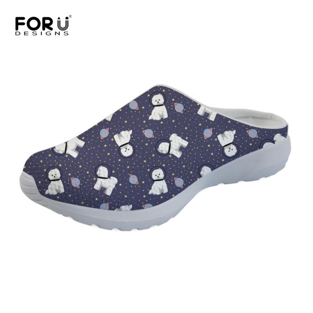 86088964fcea FORUDESIGNS Space Bichon Frise Women Slippers Soft Home Slippers ...