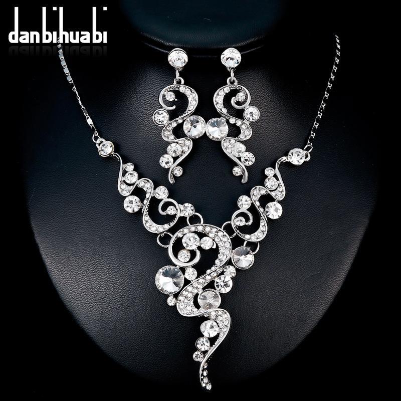 Danbihuabi 2018 Conjuntos de joyería de boda elegante nupcial blanco K Collar de diamantes de imitación Pendientes Conjuntos de bisutería para mujeres Regalos