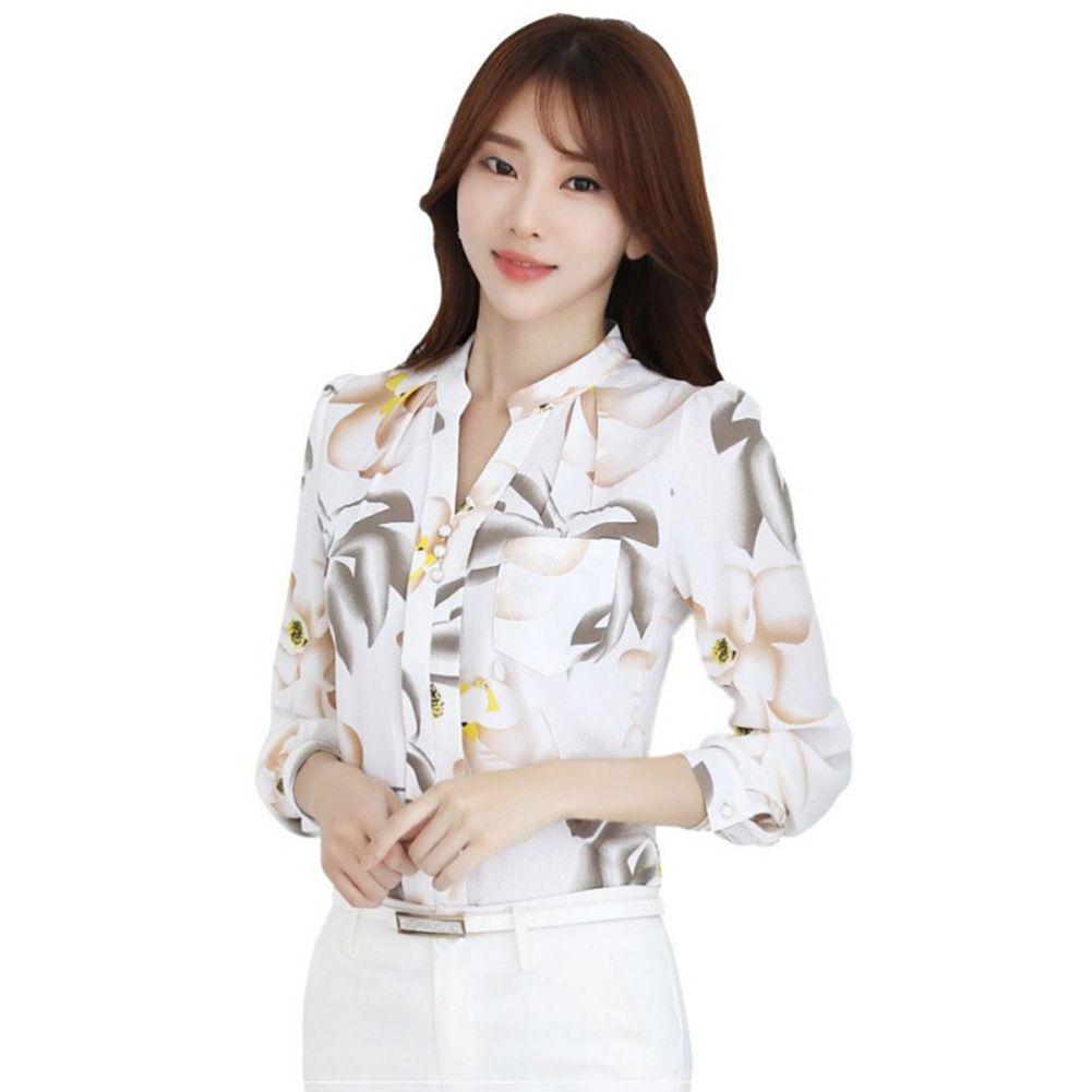 b31a8c49d54f49 2019 New Autumn Fashion V Neck Chiffon Blouses Slim Women Chiffon Blouse  Office Work Wear Shirts Women Tops Plus Size Blusas From Biusec, $38.85 |  DHgate.