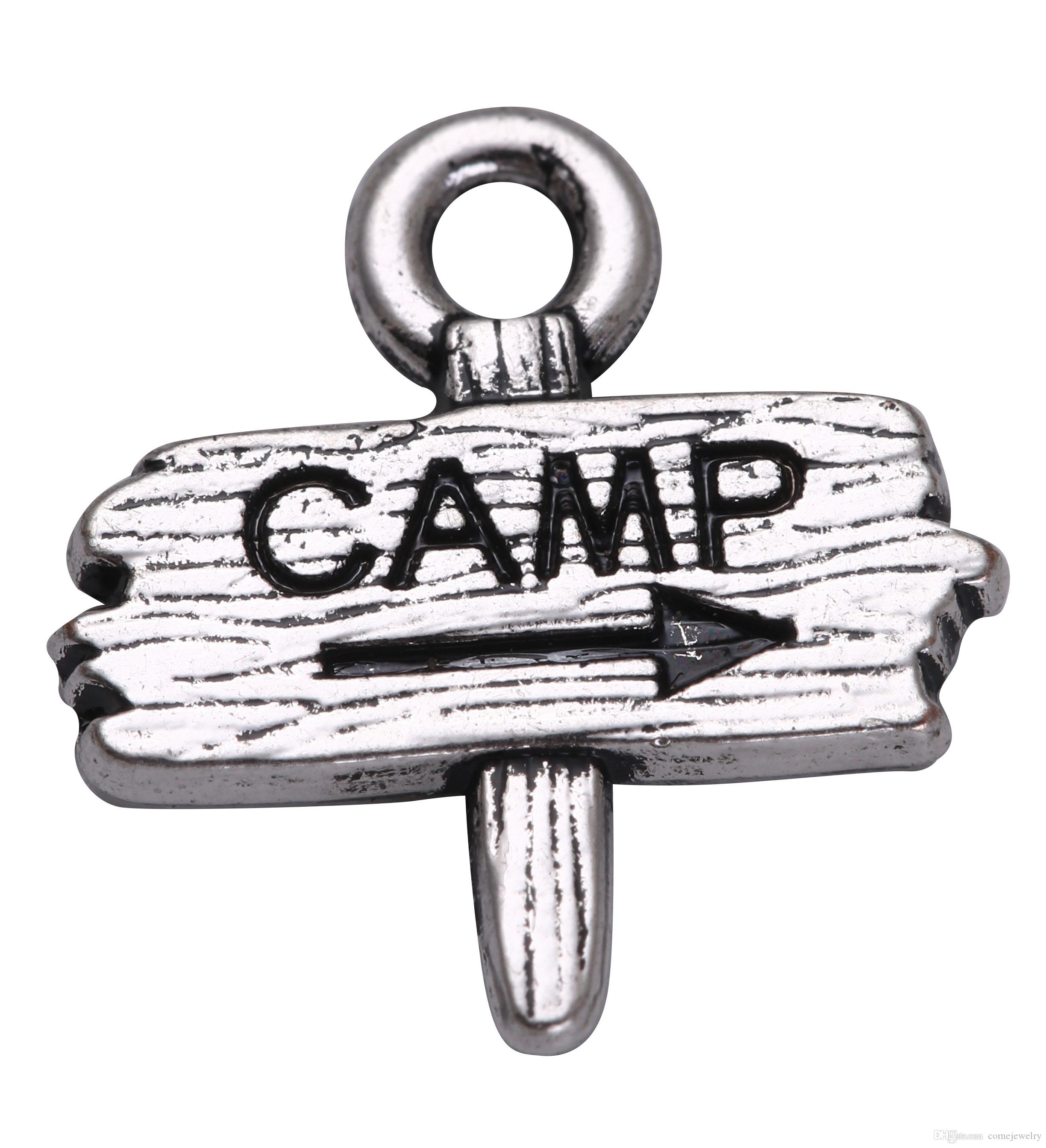 95ccf2c0f 2019 Lemegeton Zinc Alloy Metal DIY Custom Jewelry Accessories Antique  Silver Camp Camping Road Sign Pendant Charms For Bracelets From  Comejewelry, ...