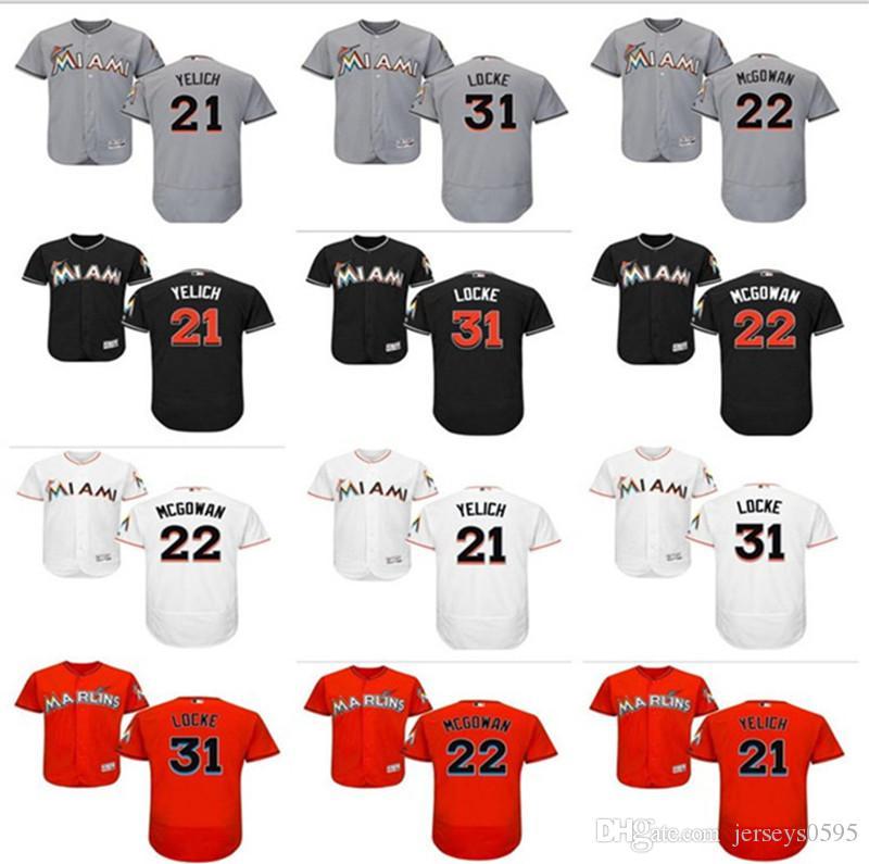 online retailer a6015 99450 2018 custom Men s women Miami Marlins Jersey #21 Christian Yelich 22 Dustin  McGowan 31 Jeff Locke home blue white kids Baseball Jerseys
