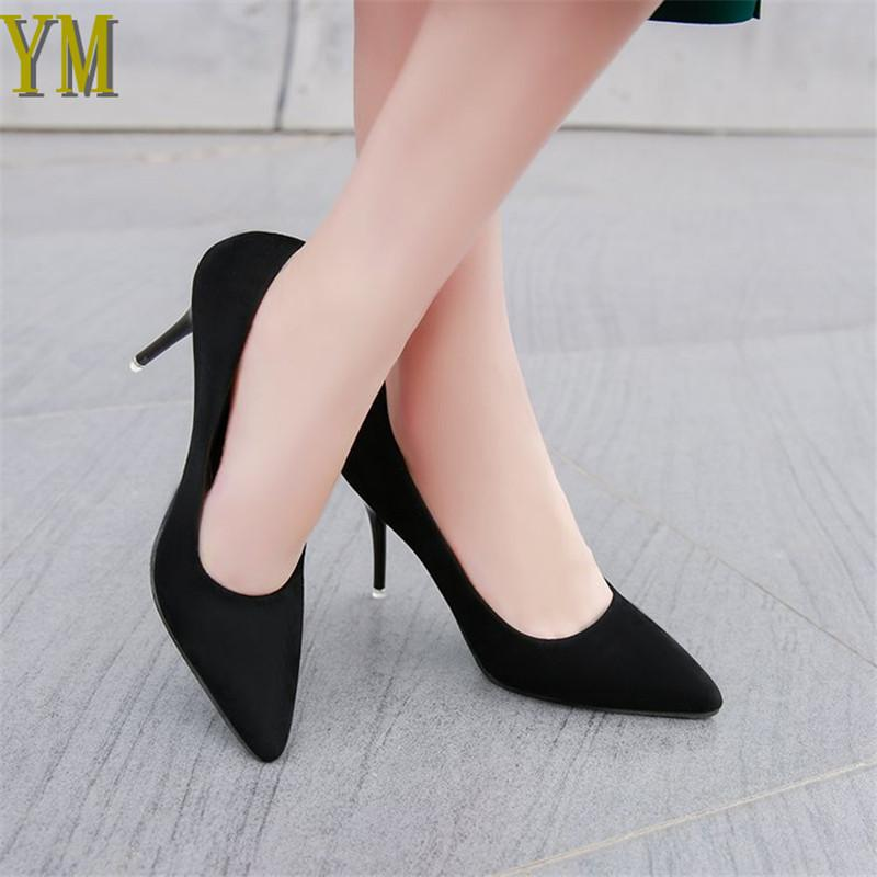 da7268796e1 Acheter 2019 Robe Plus Size44 Escarpins Femmes Chaussures Noir Flock Slip  On Fête De Mariage Peu Profonde Pointu Toe Talons Haut Pompe Chaussures  Femme 019 ...