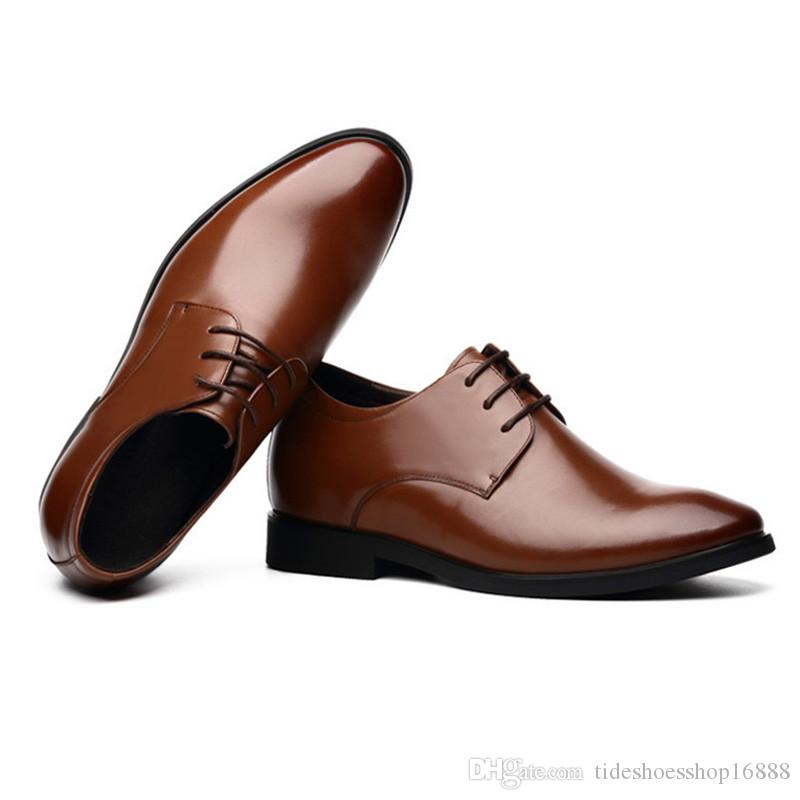 a4bf82e83a 2019 Spring Summer Height Increasing 6CM Formal Mens Oxford Shoes Genuine Leather  Business Casual Shoes Men Dress Office Luxury Shoes Womens Sandals ...