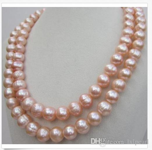 "NATURAL HUGE SOUTH SEA 10-11MM PINK PEARL NECKLACE 35""14K GOLD CLASP"