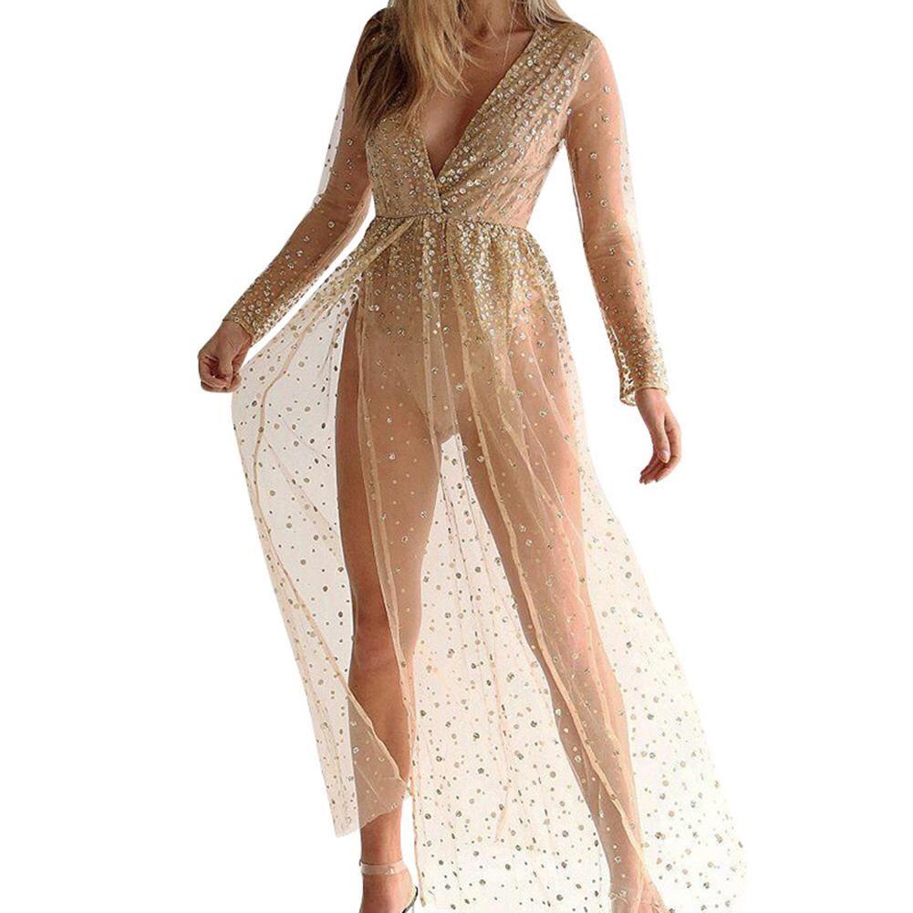 Women Bling Rhinestone Sheer Sexy Deep V High Split Long Sleeve ... e864e626b709