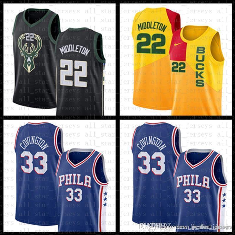 8ff55f6fc 2019 Khris 22 Middleton Philadelphia Tobias 33 Harris 76ers Milwaukee  Giannis 34 Antetokounmpo Jersey Bucks Ray 34 Allen City Basketball Jerseys  From ...