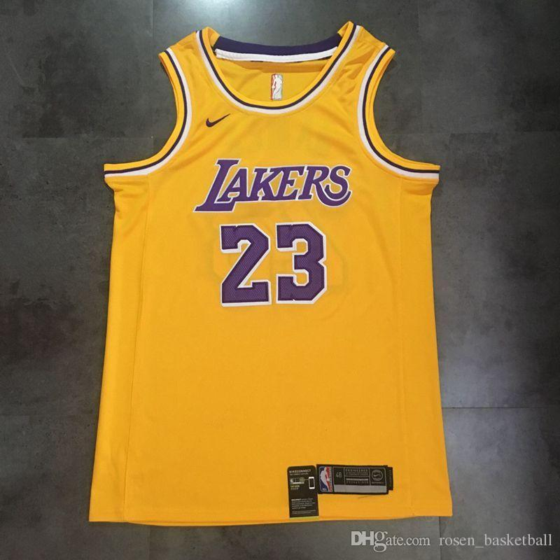 free shipping e830c 22c13 Mens LeBron James Home Yellow Swingman Jersey Top High Quality Los Angeles  Laker LeBron 23 James Basketball Jersey Dense Embroidery