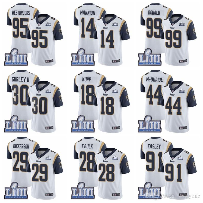 74fb29919cb 2019 16 Jared Goff 30 Todd Gurley II Limited Road Jersey Los Angeles Men S  Rams Super Bowl LIII Bound Vapor Untouchable Football Jersey From Dodo01