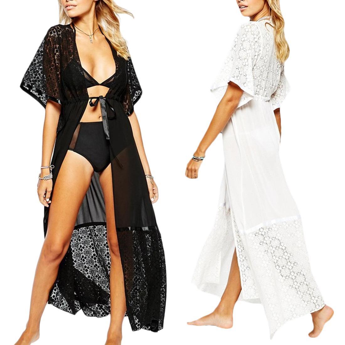 Pareo-Strandabnutzung 2018 vertuschen Chiffon-Robe Plage Kaftan Kleid Pareos für Frauen Strandtunika Sarong Badeanzug Robe de Plage
