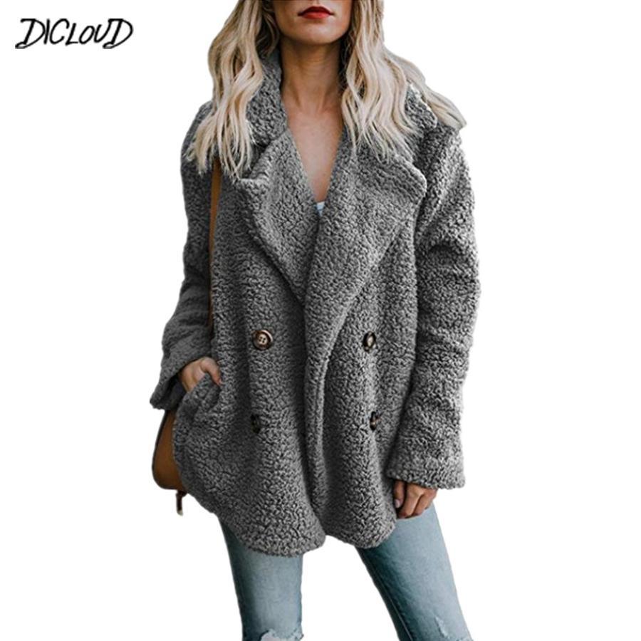 1d02df2de06 Compre DICLOUD Chaqueta De Felpa De Moda Para Mujer 2019 Nueva Chaqueta Con  Cuello En V Suelta Para Mujer Casual Tallas Grandes Prendas De Abrigo  Abrigos De ...