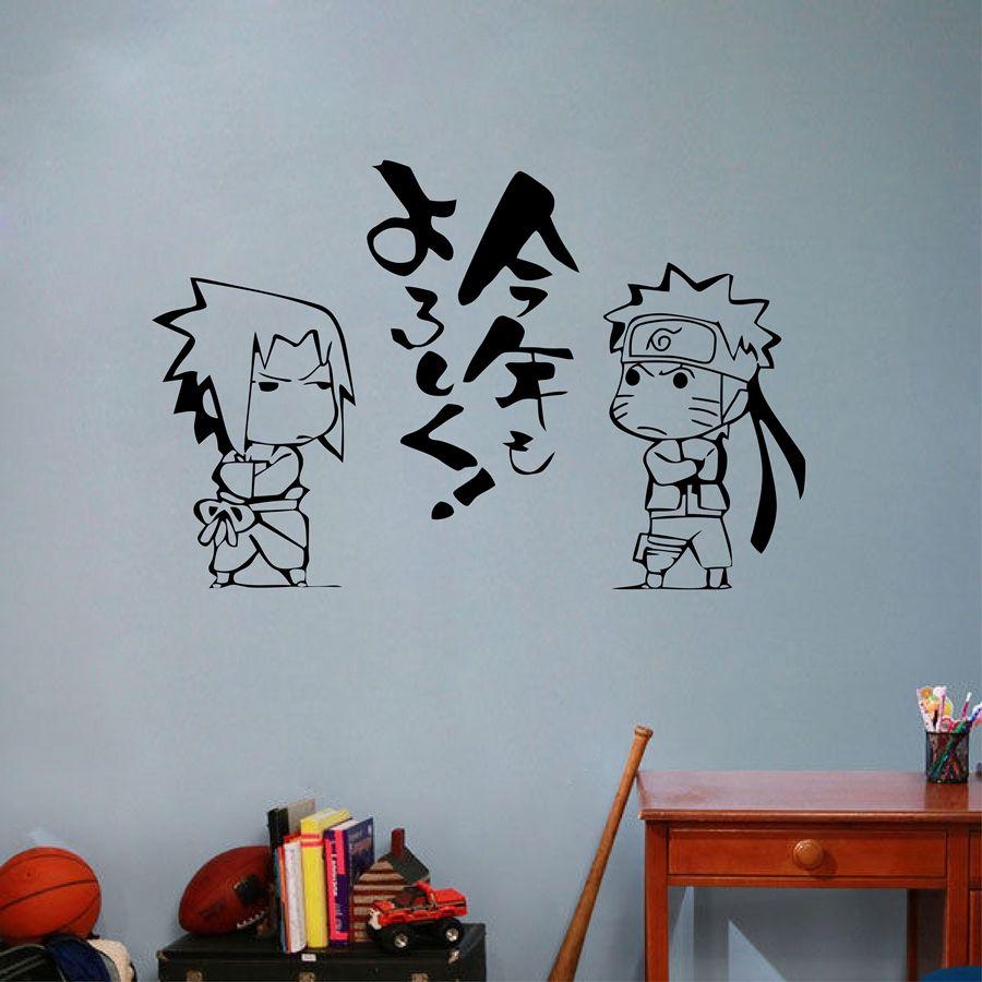 Home decor art deco japanese cartoon naruto vinyl wall sticker anime uzumaki uchiha sasuke art wall decal kids room bedroom home decoration wall mural