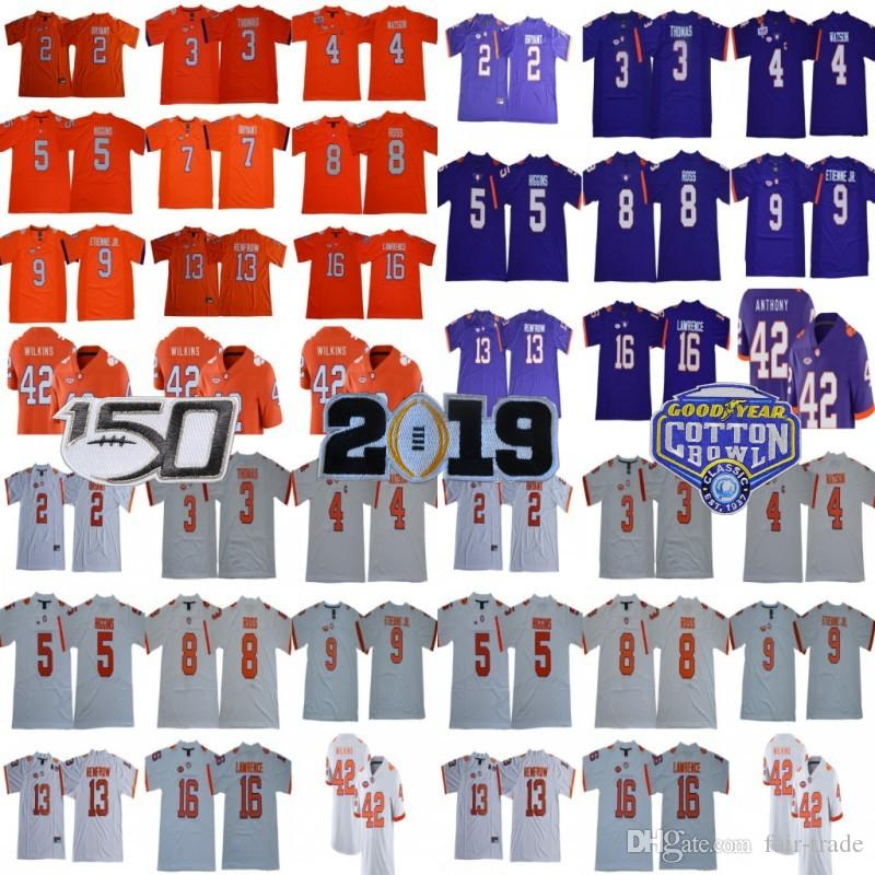 Clemson Tigers 16 Trevor Lawrence 8 Justyn Ross Travis Etienne Jr. 4 Deshaun Watson Hunter Renfrow 5 T Higgins Sammy Watkins NCAA Jerseys