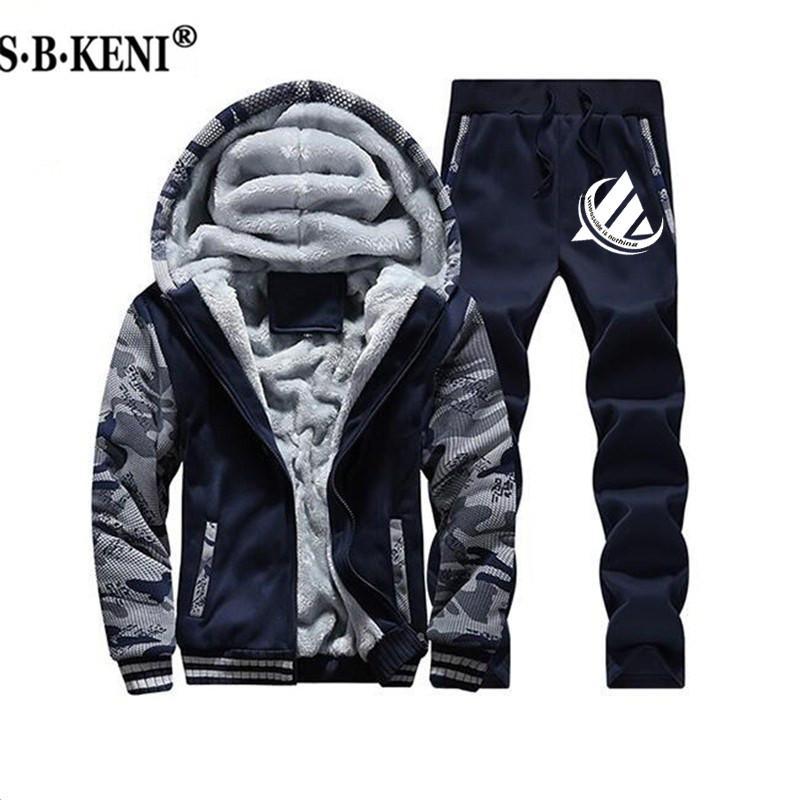 459cfcaec554d Acheter 2019 Nouvelle ADI Hommes Survêtement Ensemble D'hiver Polaire  Capuche Veste + Pantalons Sweat Shirts 2 Pièce Hoodies Sporting Suit  Manteau SportSet ...