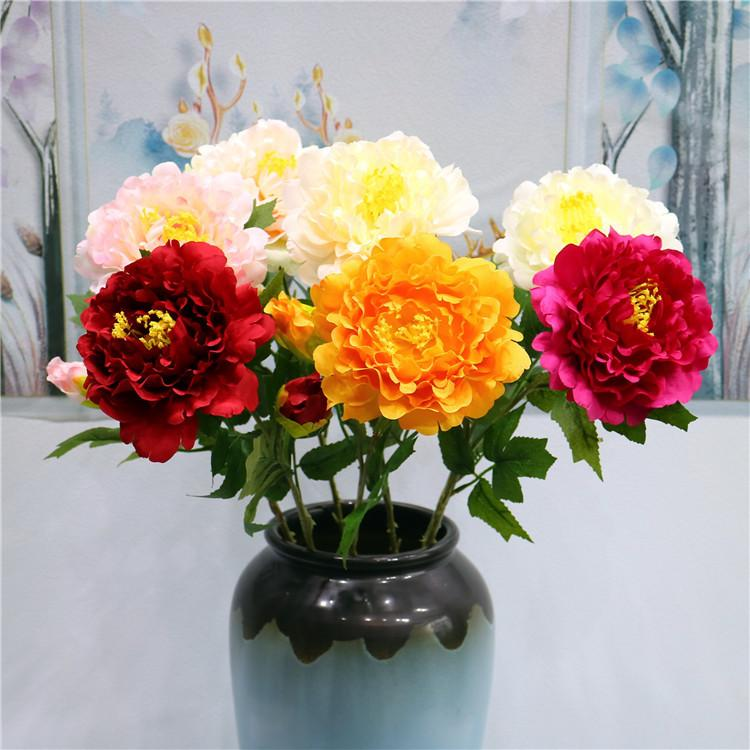 5 Pcs/lot Artificial Flowers Peony Bouquet for Wedding Decoration Wall 2 Heads Peonies Fake Flowers Home Decor Silk Hydrangeas Wreath
