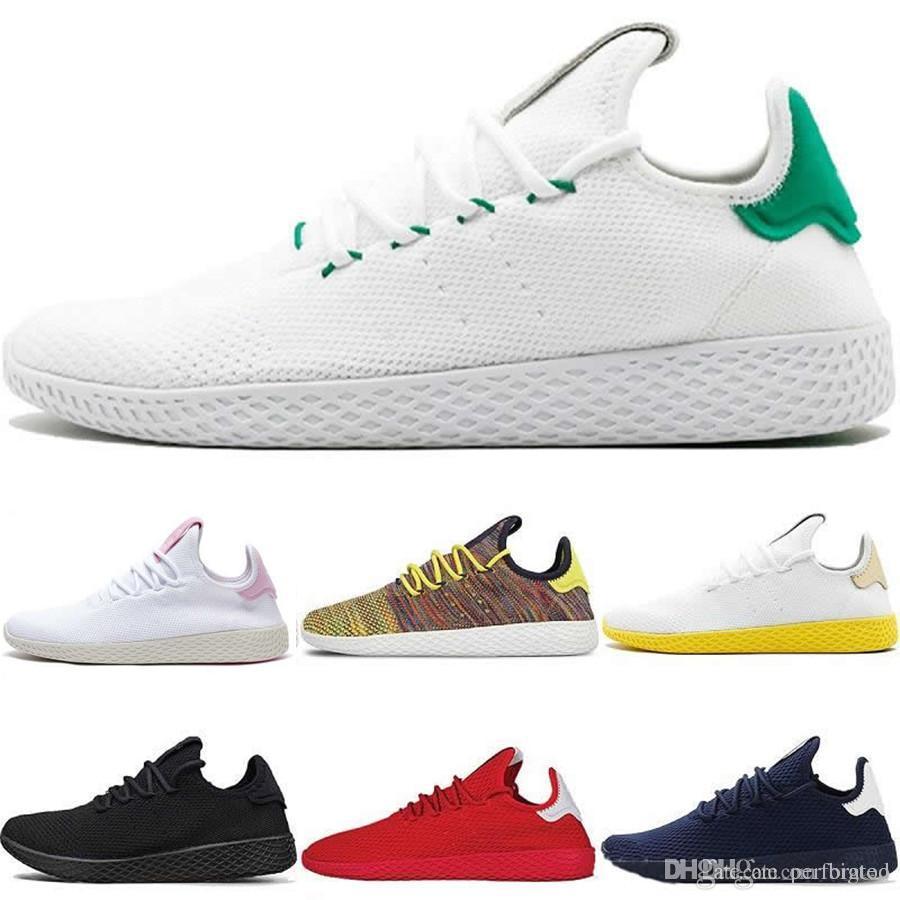 88a0628b72385 Compre 2018 Chegam Novas Pharrell Williams X Stan Smith Tênis HU Primeknit  Homens Mulheres Tênis De Corrida Sneaker Respirável Runner Calçados  Esportivos ...