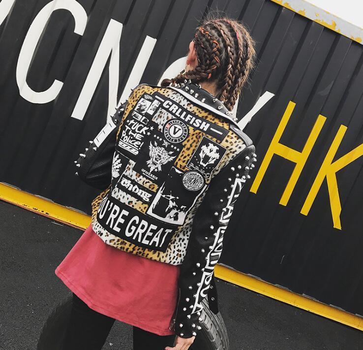 Billiger Preis Gedruckt Buchstaben Niet Leder Jacke Frauen Punk Moto Mantel Schwarz Faux Jacke Jaquetas Couro Casaco Chaquetas Gürtel Jacke 2019 Haus & Garten