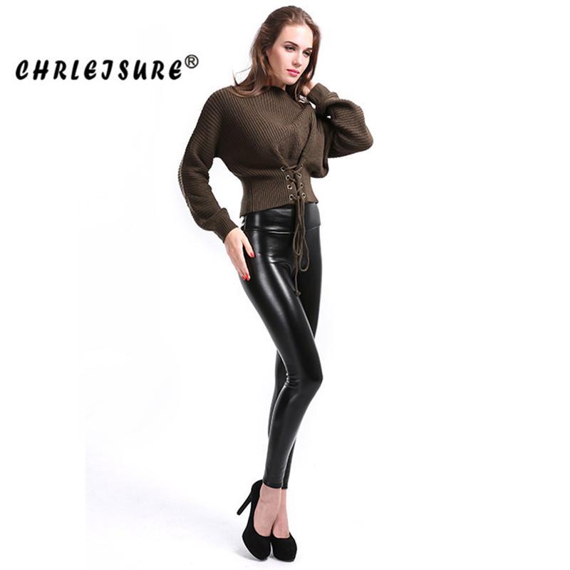 cf7db086d30 2019 CHRLEISURE 5XL Plus Size Velvet Leather Legging Warm Winter Women Faux  Leather Leggin Long High Waist Slim Legging Women From Geiwode