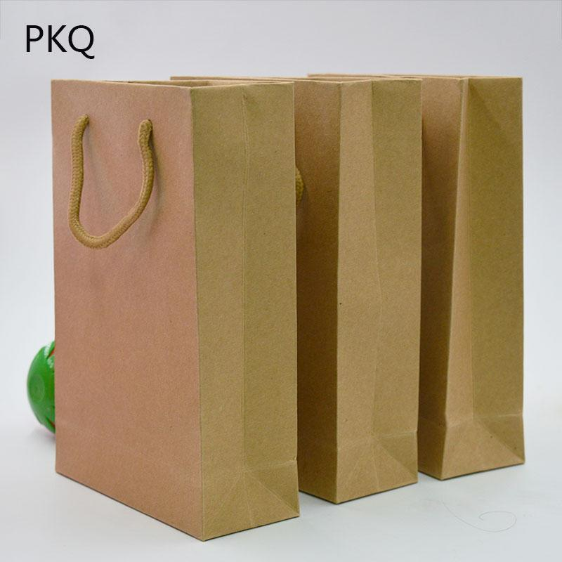 Simple Brown Kraft Paper Gift Bag With Handles For Gifts Shops