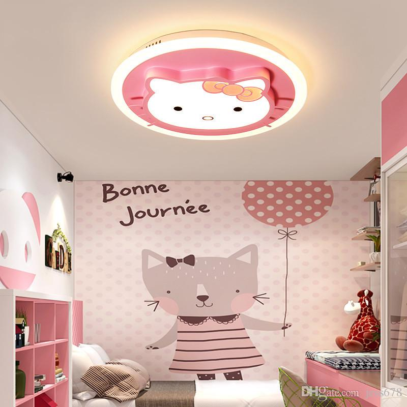Creative cute cartoon kitty cat LED ceiling lamp fixture modern for girl bedroom Children's room nursery schools study room E27