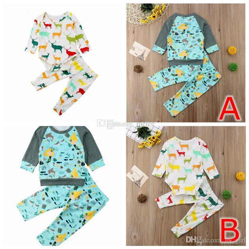 ins summer xmas chritmas ocean animal kids girls long sleeved elk print romper tshirt tops & kids floral full print pants 2pc set 0-2Y