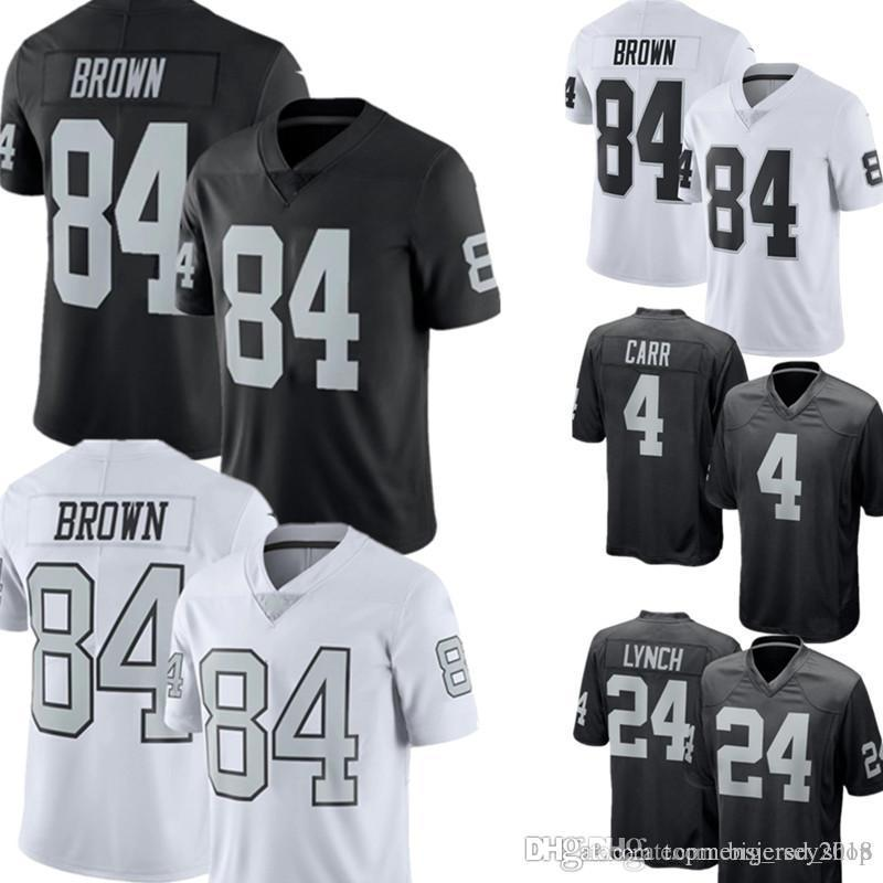 on sale cd6a0 58fa8 Oakland 84 Antonio Brown Raiders Jersey Mens 24 Marshawn Lynch 4 Derek Carr  Football Jerseys 2019 New Black white
