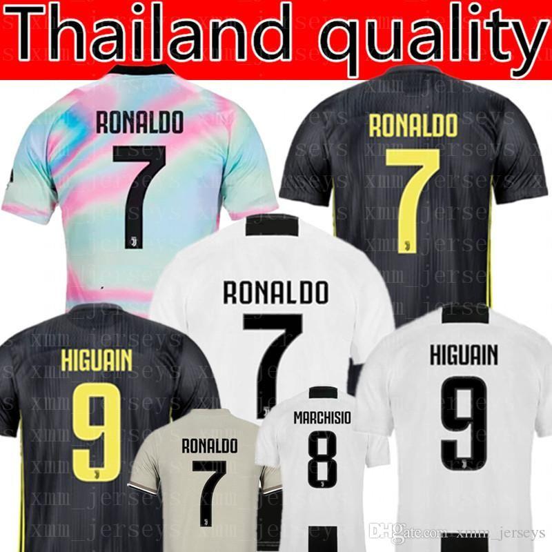 online store 2497b a0b78 RONALDO #7 Juventus Soccer Jersey 2019 HIGUAIN #9 DYBALA 10 Mandzukic 17  Cuadrado 7 football shirt Uniform WOMEN man Kids Kits