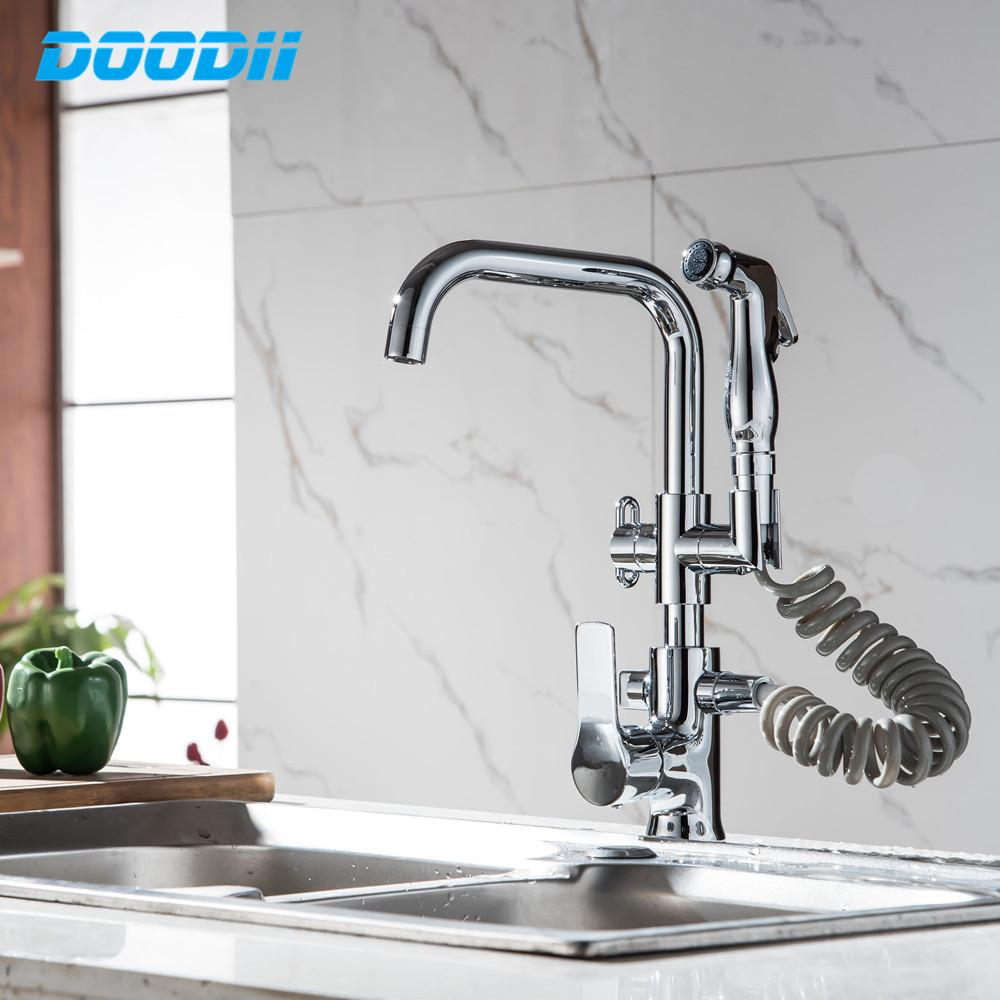 Kitchen Faucet Pull Out Side Spray Dual Spout Single Handle Mixer