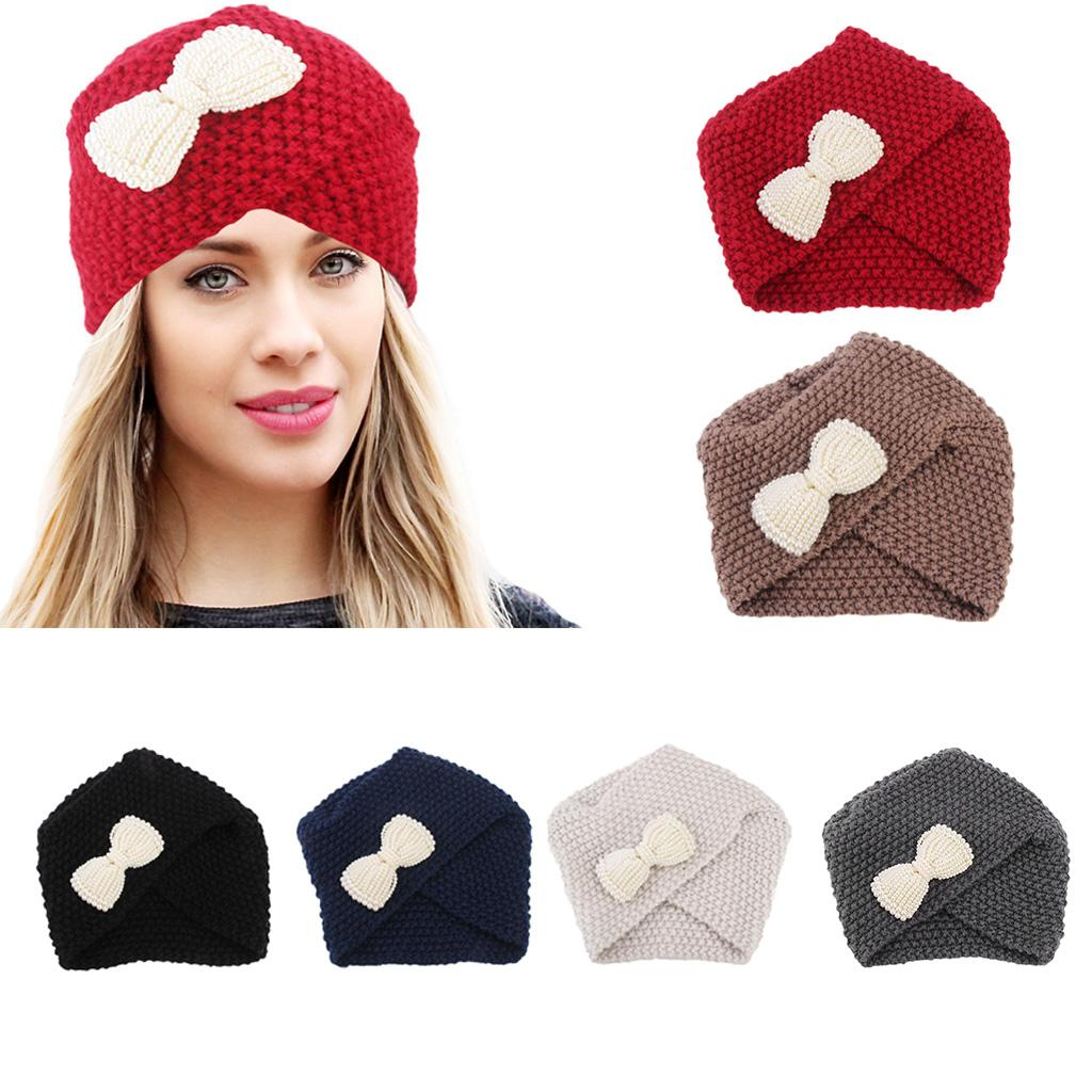 e3deca91fe7 Women Luxury Winter Thread Knitted Hat Faux Pearl Bowknot Solid ...