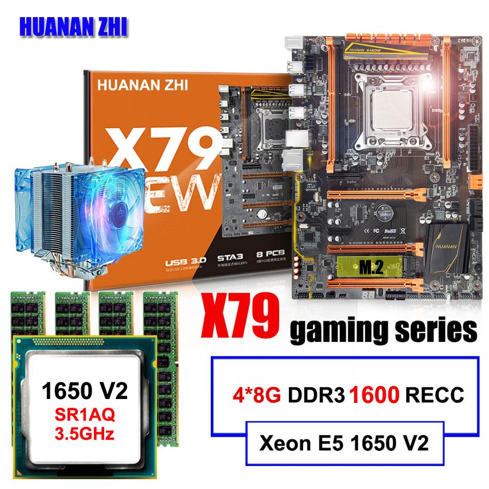 Famous brand HUANAN ZHI deluxe X79 motherboard with M 2 slot CPU Intel Xeon  E5 1650 V2 with cooler RAM 32G(4*8G) 1600 REG ECC